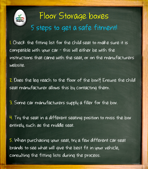 Floor Storage and child car seats