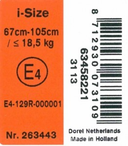 R129 iSize Label