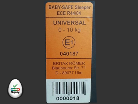 Group 0 car seat label