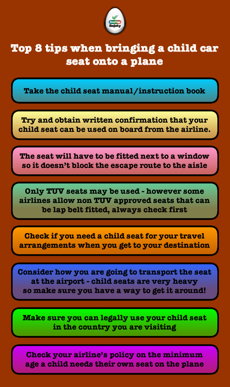 Top 8 tip when bringing a child car seat onto a plane