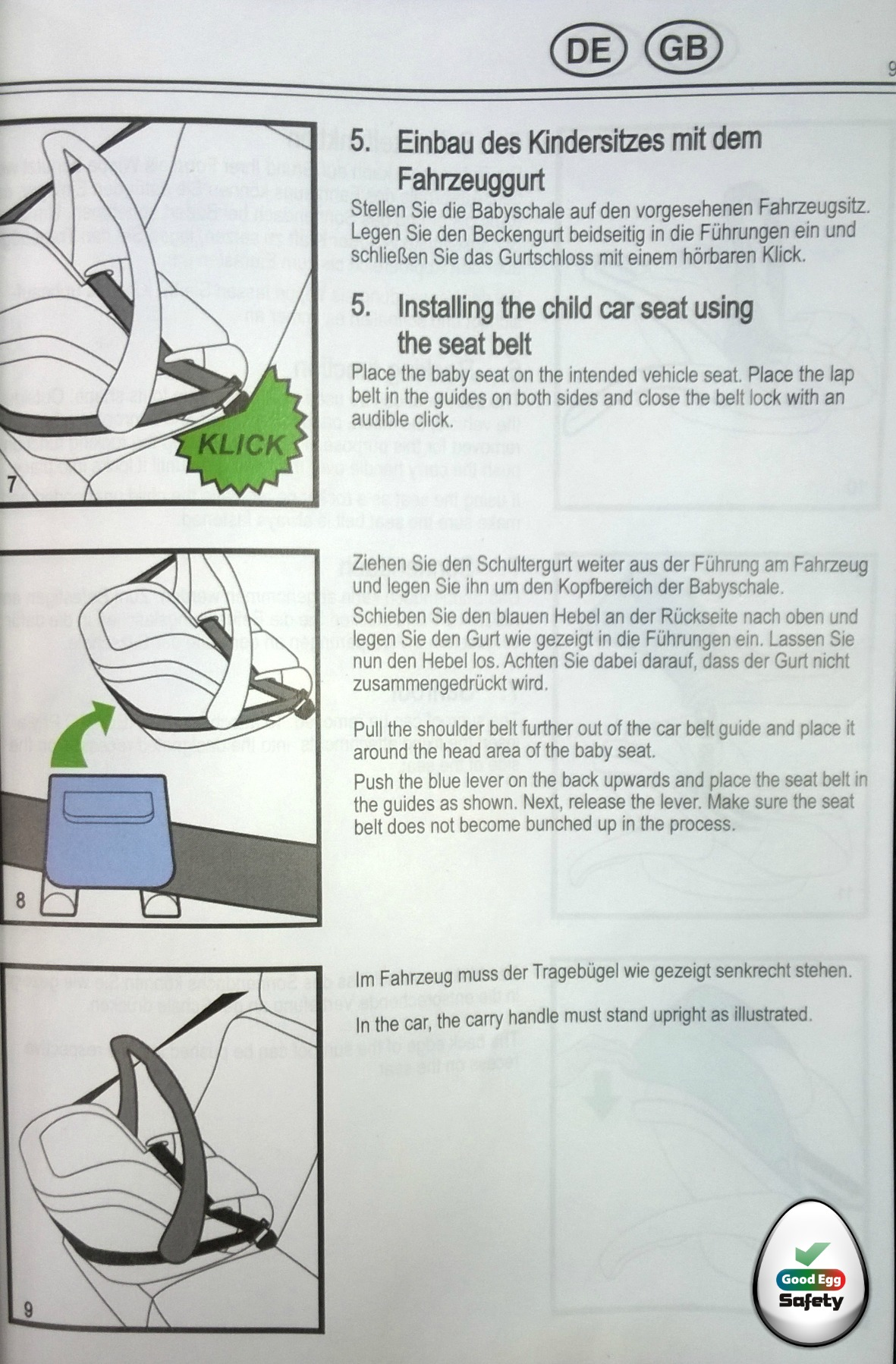 The child seat manual is in many languages.